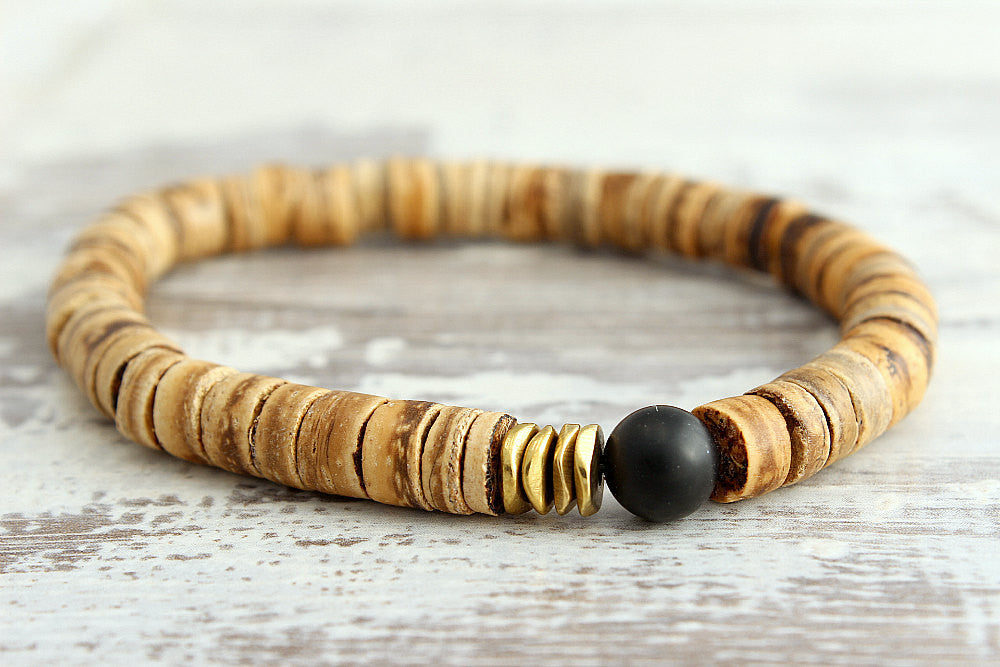 Mens Bracelet Black Onyx W/ Coconut Wood Mens...