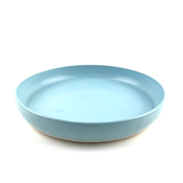 Blue Flat Bowl in White Clay