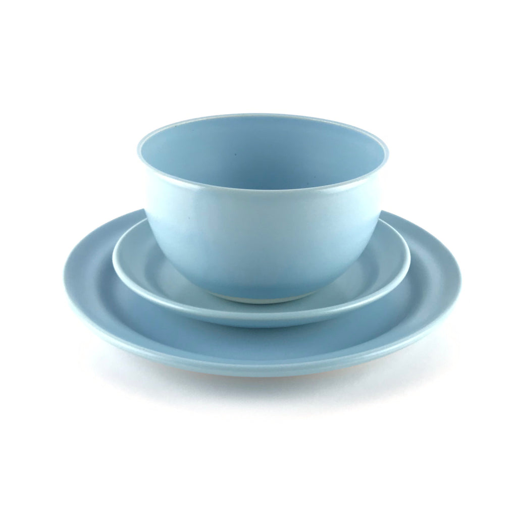Blue Dish Set in White Clay