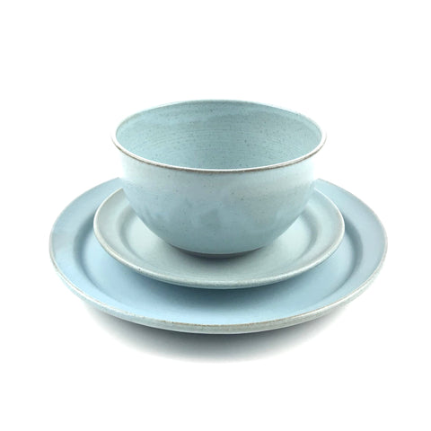 Blue Dish Set in Dark Clay