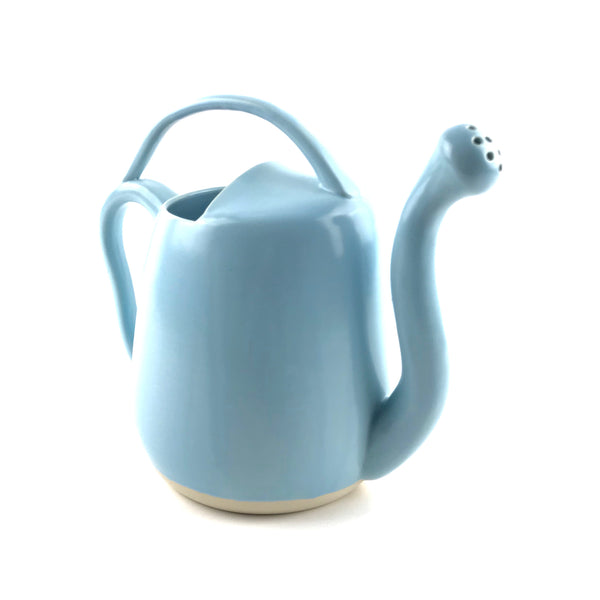 Blue Watering Can in White Stoneware