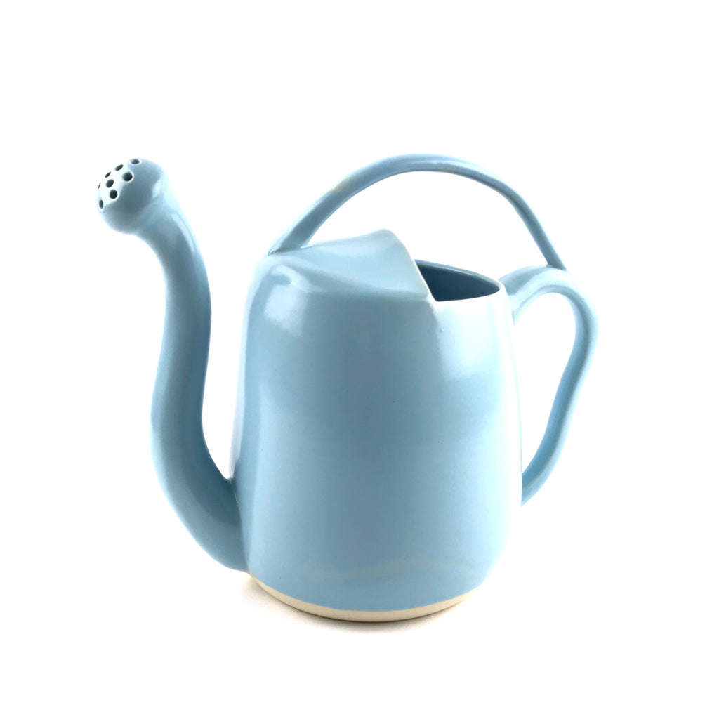 Blue Watering Can in White Clay