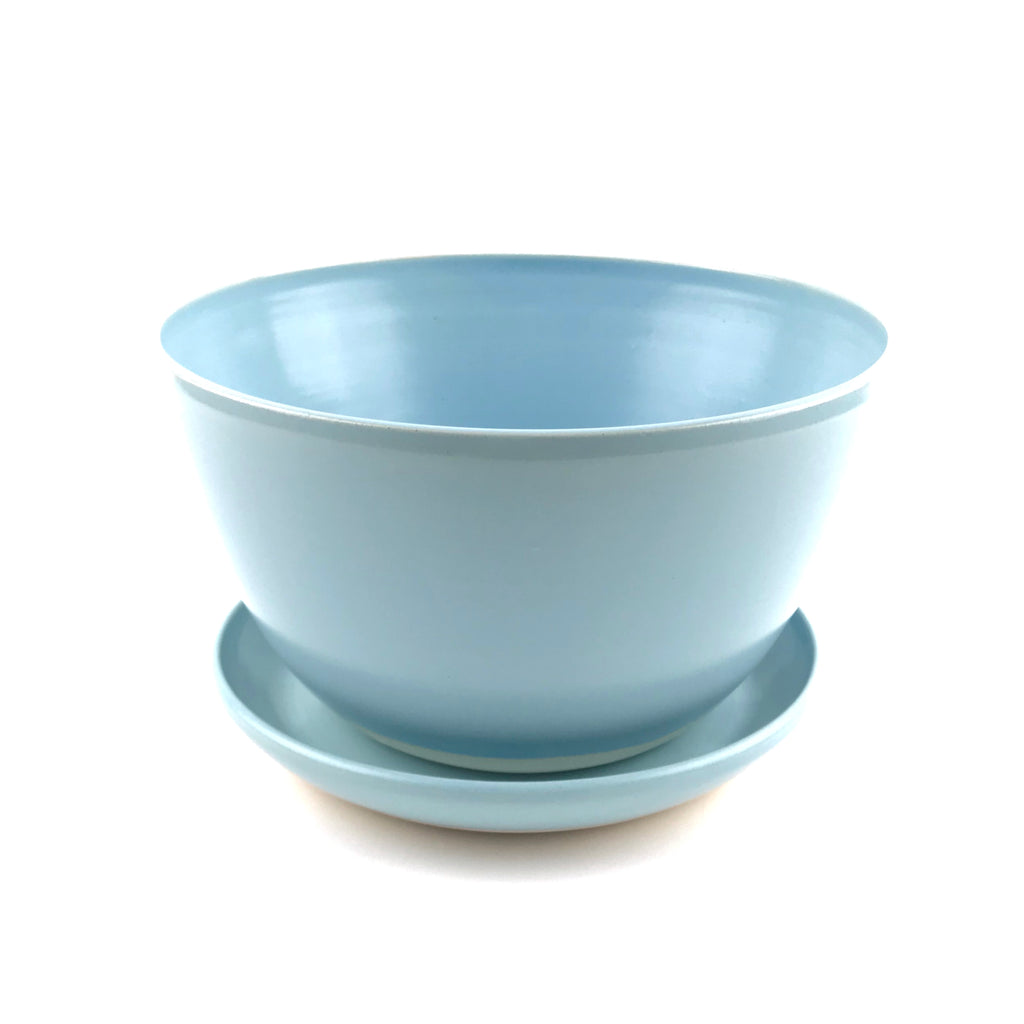 Blue Planter Set in White Clay