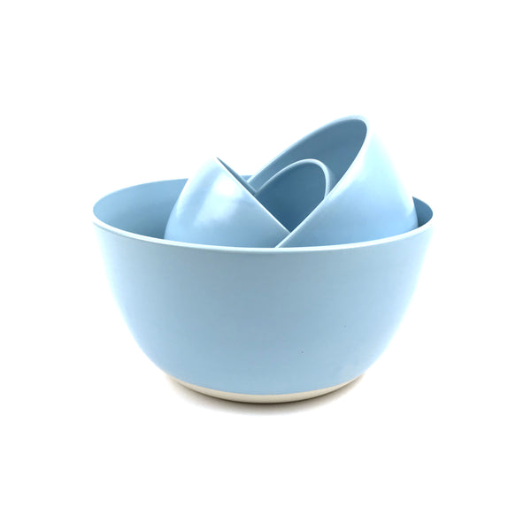 Blue Bowls in White Clay
