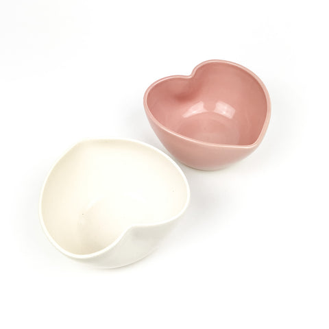 Heart Shaped Bowls in White Clay