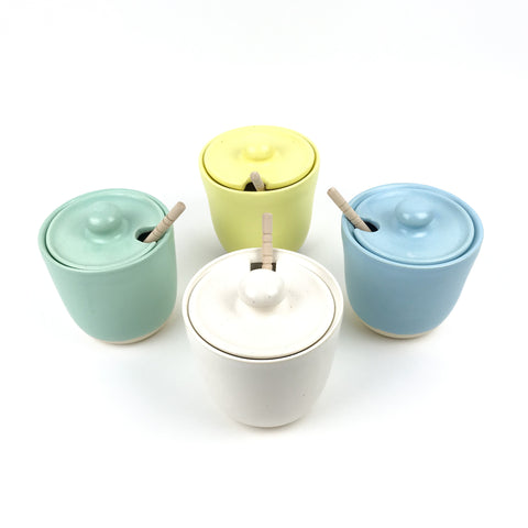 Honey Pot Jars in White Stoneware