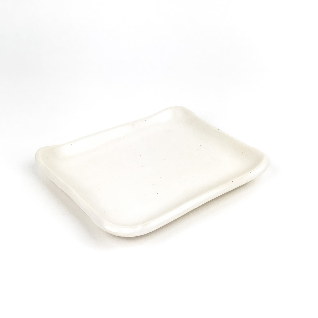 Little Tray in White Stoneware