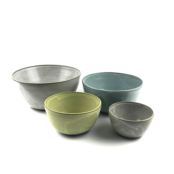 Multi Colored Nesting Bowl Set in Dark Stoneware