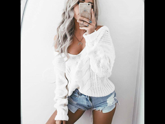 Sexy Twist, Deep V Neck, Off Shoulder Sweater.