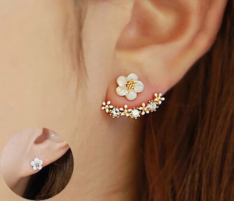 Flower, Crystal , Cuff Earrings