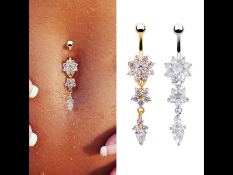 Crystal Flower, Dangle, Navel Ring.