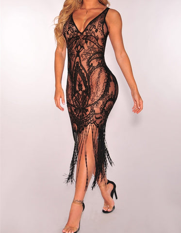 Obsessed, Lace Fitted Dress