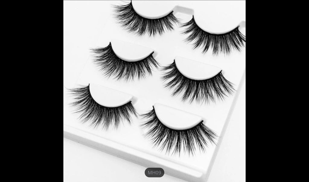 MH09, False Mink Eyelashes, 5 Pairs