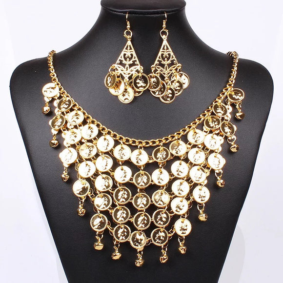 Dripping In Gold, Earrings And Necklace Set.