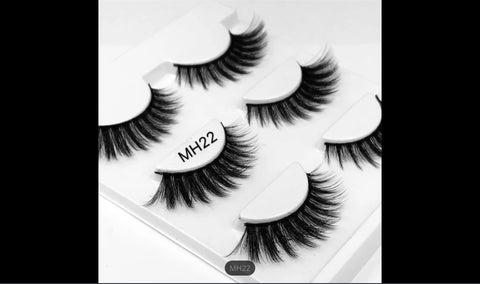 MH22,False Mink Eyelashes, 3 Pairs