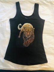 Crouching  Leopard, Printed Women's Top