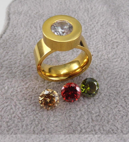 INTERCHANGEABNLE STONES QUAD RING
