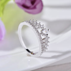Elegant Crystal Stones Crown Ring