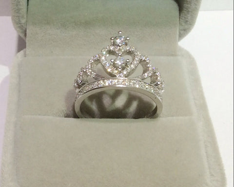 Heart White Sapphire, Crown Ring