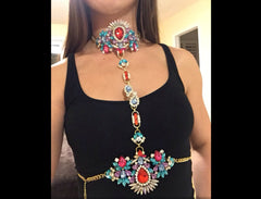 Sexy, Colorful Crystals Body Chain