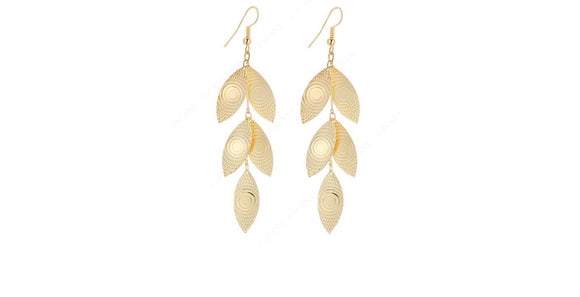 Shining Leaves, Long Dangle Earrings