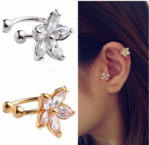 Crystal Flower Clip On Earring