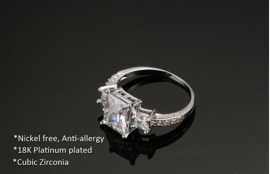 White Gold Plated Engagement Style Ring