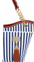 Blue and White Stripe Canvas Shoulder Bag