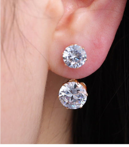 Double Crystal Studs, Earrings