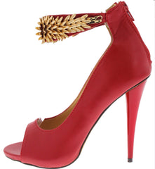Red With Gold Jewelry Strap Heels