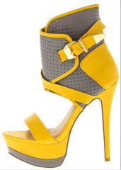 Aviana Grey And Yellow Heels