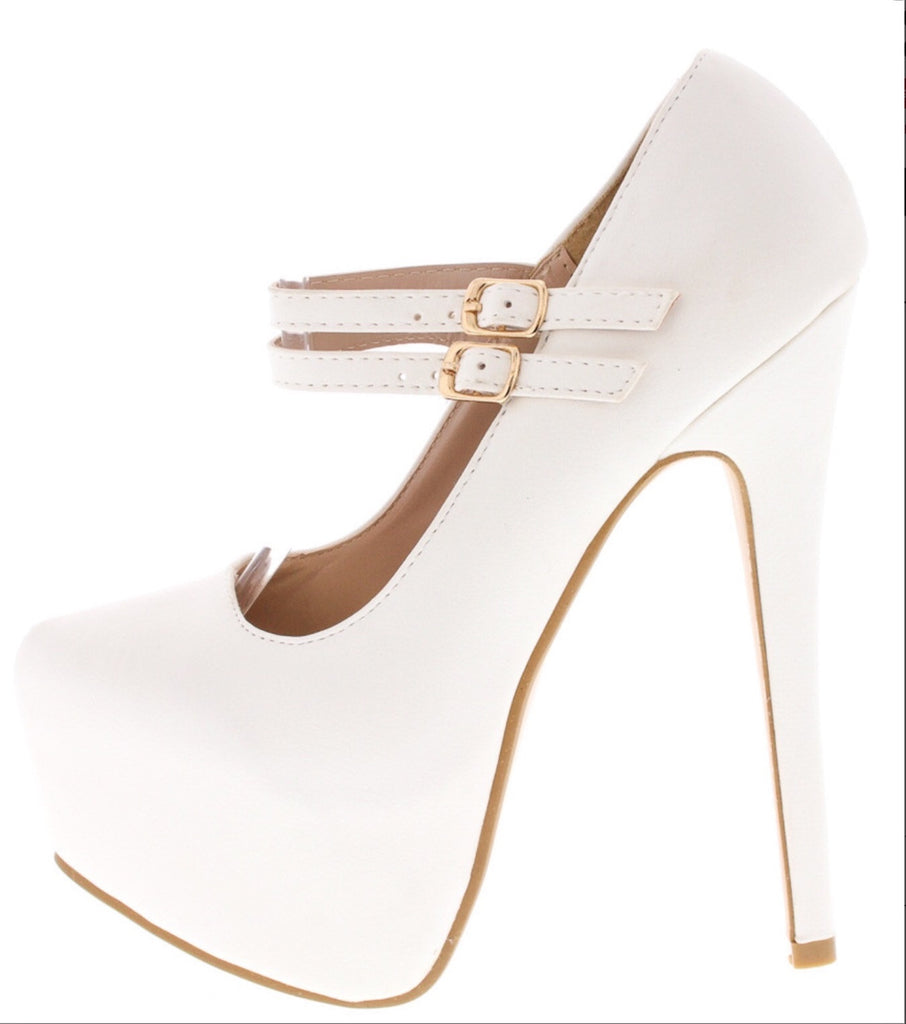 White Leather,Double Strap High Heels