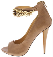 Taupe With Gold Jewelry  Strap Heels