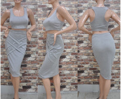Grey Summer Style Two Piece