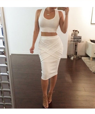 White Summer Style Two Piece