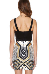 Metallic Print ,Bodycon Dress