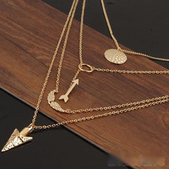 ANGEL WINGS ,ARROW MULTI CHAIN NECKLACE