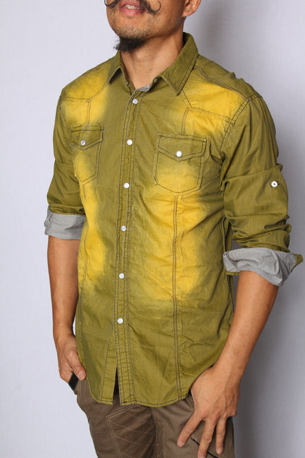 Distressed Juniper Button Up