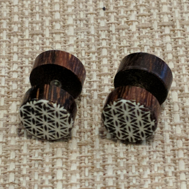 Sacred geo wooden faux gauges