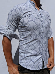 Black & White Palm Leaf Button Up