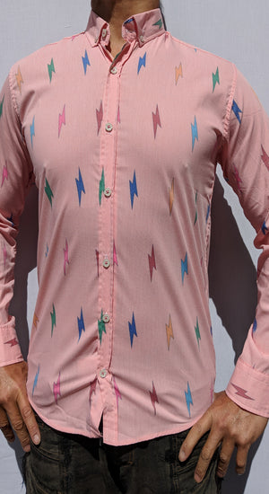 Coral Lightning Button Up