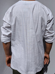 Cut n' Sew Raw Edge Long Sleeve Linen