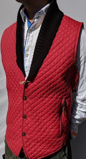 Quilted Collar Tufted Vest