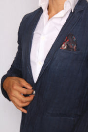 Linen Pinstriped Blue Jacket