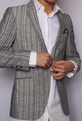 Quilting Dotted Stripe Blazer