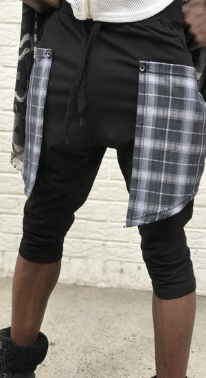 Plaid-Flap Grunge Harem Shorts