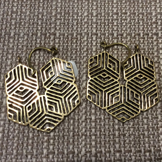 Golden maze earrings