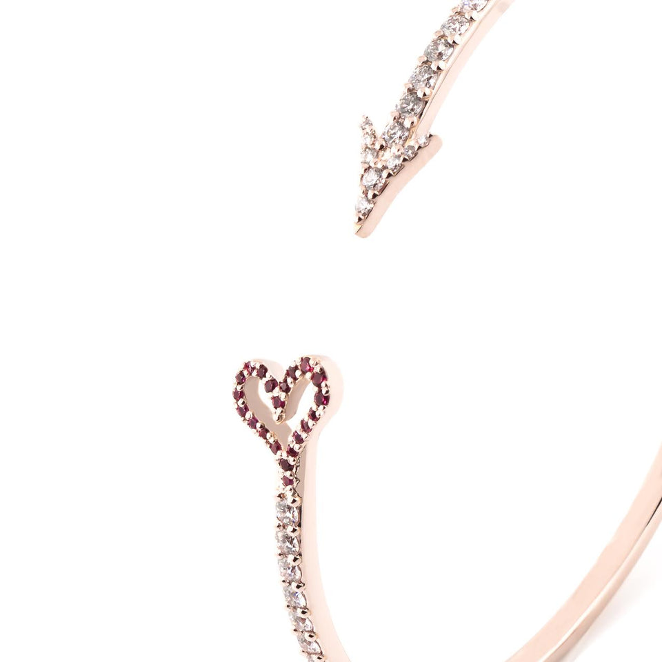 Cupid Arrow Cuff with Rubies and Diamonds
