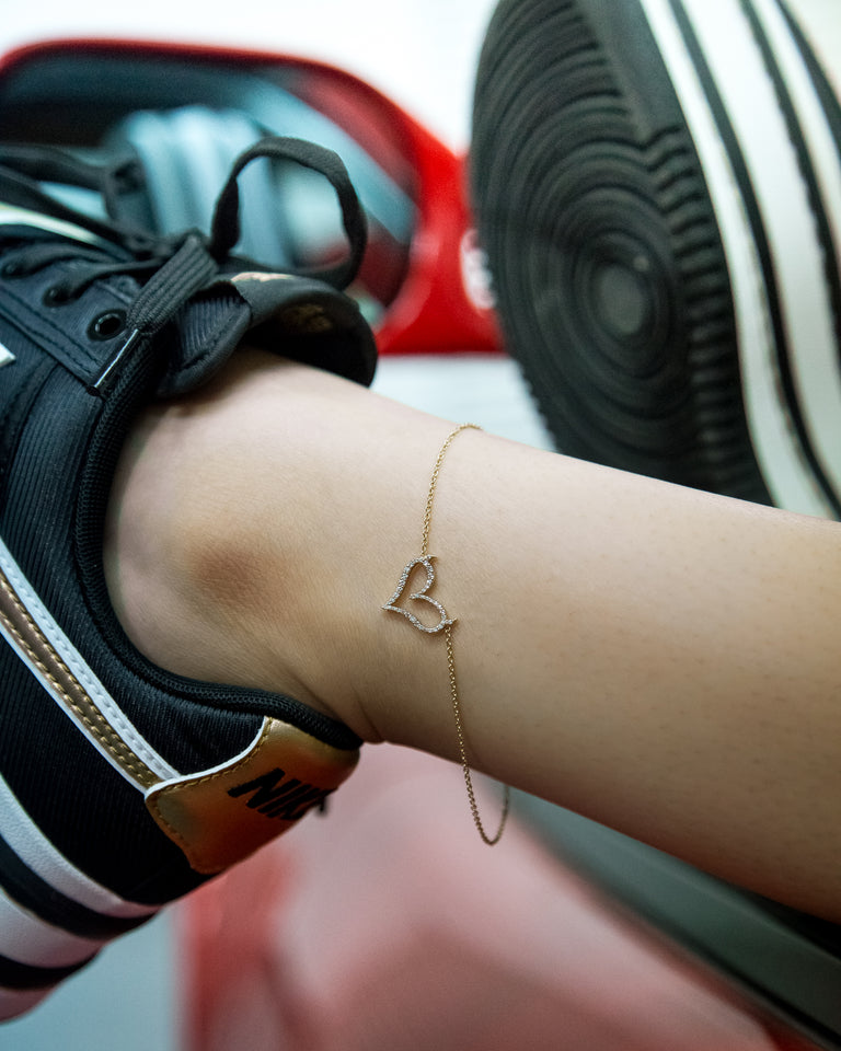 Mini Sinful Heart Anklet with Diamonds