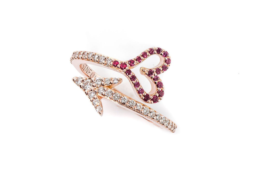 Cupid Arrow Ring with Rubies and Diamonds